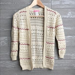 Open knit beige cardigan girls size small